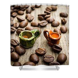 Miniature Coffee Cups Shower Curtain by Aged Pixel