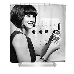 Miniature Computer Components Shower Curtain by Underwood Archives