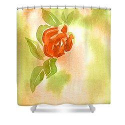 Shower Curtain featuring the painting Miniature Red Rose II by Kip DeVore