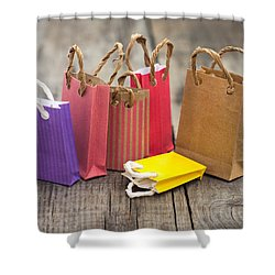 Miniature Shopping Bags Shower Curtain by Aged Pixel