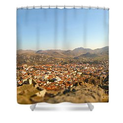 Miniature Town Shower Curtain by Vicki Spindler