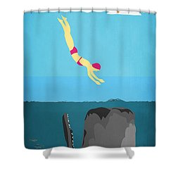 Minimal Sea Life  Shower Curtain