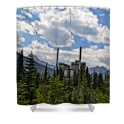 Mining Plant Fractal Shower Curtain