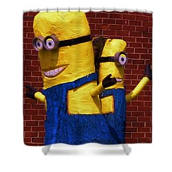 Minion Twins Shower Curtain by Bob Sample