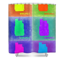 Minneapolis Pop Art Map 3 Shower Curtain by Naxart Studio
