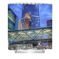 Minneapolis Skyline Photography Nicollet Mall Winter Evening Shower Curtain
