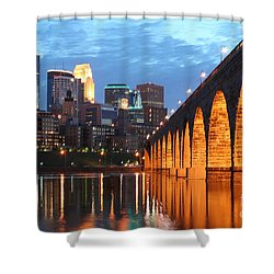 Minneapolis Skyline Photography Stone Arch Bridge Shower Curtain