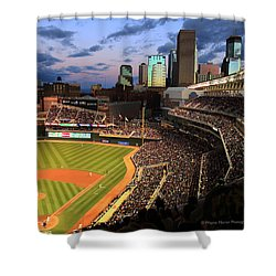 Minnesota Twins Minneapolis Skyline Target Field Shower Curtain