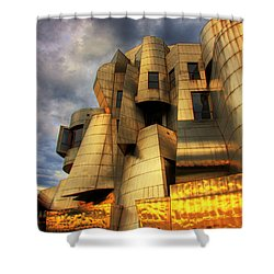 Minneapolis Skyline Photography Weisman Museum Shower Curtain by Wayne Moran