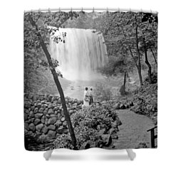 Minnehaha Falls Minneapolis Minnesota 1915 Vintage Photograph Shower Curtain by A Gurmankin