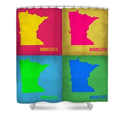 Minnesota Pop Art Map 1  Shower Curtain by Naxart Studio