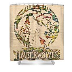 Minnesota Timberwolves Retro Poster Shower Curtain by Florian Rodarte