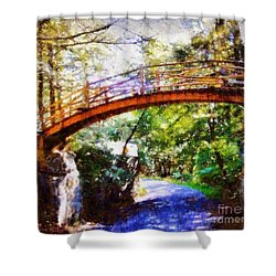 Minnewaska Wooden Bridge Shower Curtain by Janine Riley