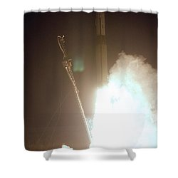 Minotaur Rocket Launch Shower Curtain by Science Source