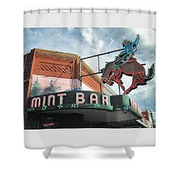 Mint Bar Sheridan Wyoming Shower Curtain by Mary Lee Dereske
