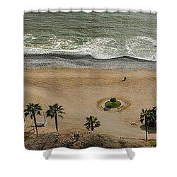 Miraflores Beach Panorama Shower Curtain