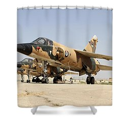 Mirage F.1 Fighter Planes Of The Royal Shower Curtain by Ofer Zidon