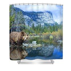Mirror Lake Bear Shower Curtain by Alixandra Mullins