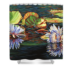 Shower Curtain featuring the painting Mirrored Lilies by Jane Girardot