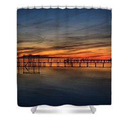 Shower Curtain featuring the photograph Mirrored Sunset Colors On Santa Rosa Sound by Jeff at JSJ Photography
