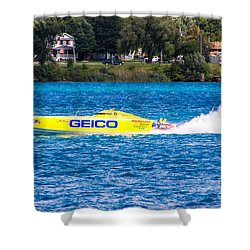 Miss Geico With Rooster Tail Shower Curtain