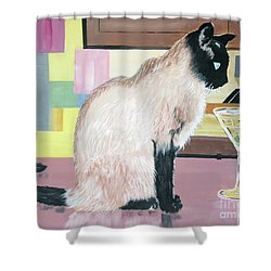 Miss Kitty And Her Treat Shower Curtain