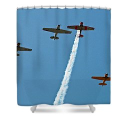 Shower Curtain featuring the photograph Missing Man Flyover by Allen Sheffield