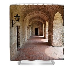 Mission Concepcion Promenade Walkway In San Antonio Missions National Historical Park Texas Shower Curtain