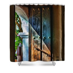 Mission Door Shower Curtain by Joan Carroll