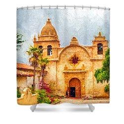 Mission San Carlos Borromeo De Carmelo Impasto Style Shower Curtain