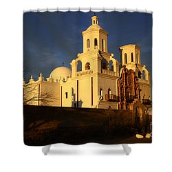 Mission San Xavier Del Bac Last Light Shower Curtain by Bob Christopher