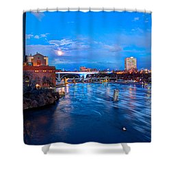 Mississippi Moonlight Shower Curtain by Amanda Stadther