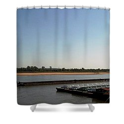 Mississippi River Barge Shower Curtain by Kelly Awad
