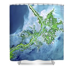Mississippi River Delta Shower Curtain by Adam Romanowicz