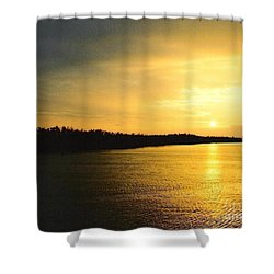 Shower Curtain featuring the photograph Sunrise Over The Mississippi River Post Hurricane Katrina Chalmette Louisiana Usa by Michael Hoard