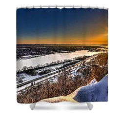 Mississippi River Sunrise Shower Curtain