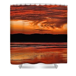 Shower Curtain featuring the photograph Mississippi River Sunset by Don Schwartz