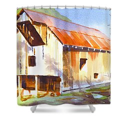 Missouri Barn In Watercolor Shower Curtain