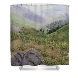Mist In The Glen Shower Curtain by Laurie Morgan