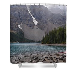Mist Over Lake Moraine Shower Curtain