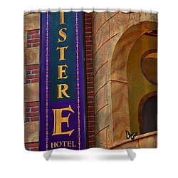 Mister E Hotel - Vacancy Sign Shower Curtain by Liane Wright