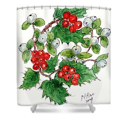 Mistletoe And Holly Wreath Shower Curtain by Nell Hill