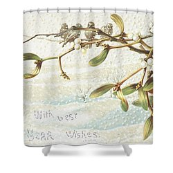 Mistletoe In The Snow Shower Curtain by English School