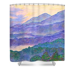 Misty Blue Ridge Shower Curtain by Kendall Kessler