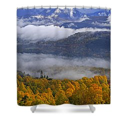 Misty Day In The Cairngorms Shower Curtain by Louise Heusinkveld