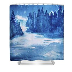 Shower Curtain featuring the painting Misty Falls by Ellen Levinson
