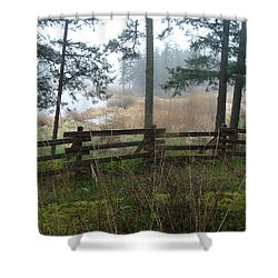 Shower Curtain featuring the photograph Misty Flats by Cheryl Hoyle