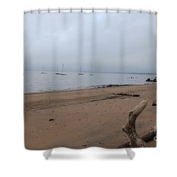 Misty Harbor Shower Curtain
