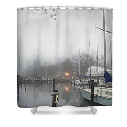 Misty Harbor Lights Shower Curtain by Brian Wallace
