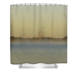 Misty Lake Shower Curtain by Charles Beeler